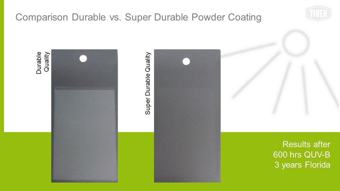 Comparison Durable vs. Super Durable Powder Coating
